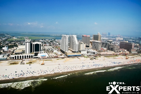 Beautiful Beach and Boardwalk in front of Atlantic Club Casino